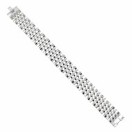 Men's Stainless Steel Chain Link Bracelet 7.5 to 8.75 Inches (Silver - 17MM - Oval)