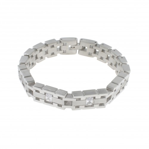 Men's Stainless Steel Chain Link Bracelet 7.5 to 8.5 Inches (Silver - 15MM - CZ - Round Rectangle)