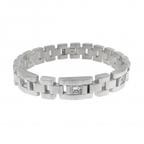 Men's Stainless Steel Chain Link Bracelet 7.5 to 8.5 Inches (Silver - 12MM - CZ - Round Rectangle)
