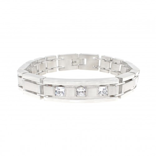 Men's Stainless Steel Chain Link Bracelet 7.5 to 8.5 Inches (Silver - 12MM - CZ - Curved)