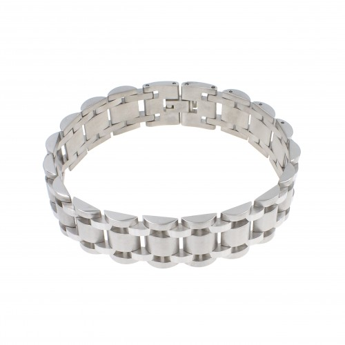 Men's Stainless Steel Chain Link Bracelet 7.5 to 8.75 Inches (Silver - 17MM - Half Cylinder)