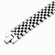 Men's Stainless Steel Chain Link Bracelet 7.5 to 8.75 Inches (Silver - 15MM - Half Cylinder)