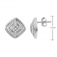 Rhodium Plated Cubic Zirconia Square Stud Earrings