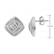 Rhodium Plated Cubic Zirconia Square Stud Earrings