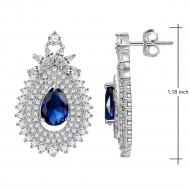 Tear Drop Rhodium Plated with Blue Cubic Zirconia Filigree Earrings