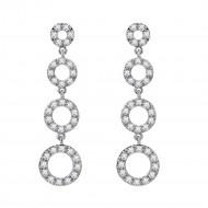 3-Hoops Rhodium Plated Cubic Zirconia Dangle Earrings
