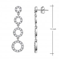 3-Hoops Rhodium Plated Cubic Zirconia Dangle Earrings