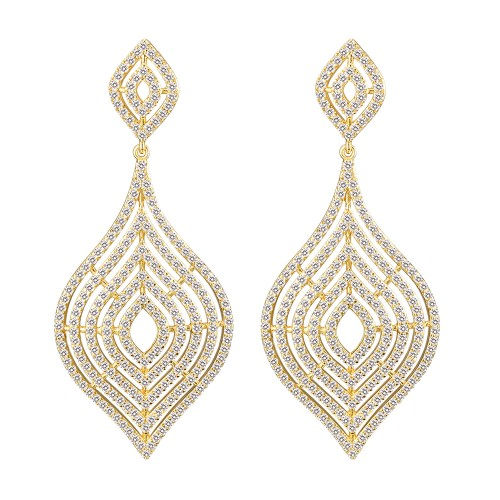 Gold Plated with CZ Dangle Earrings