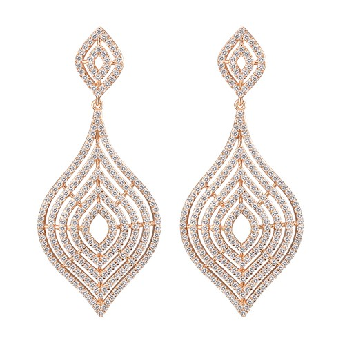 Rose Gold Plated with CZ Dangle Earrings