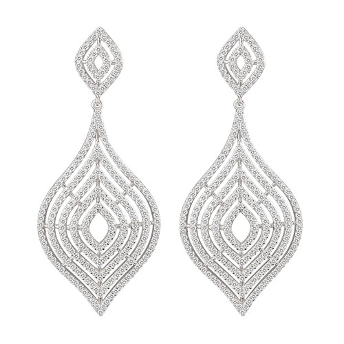 Rhodium Plated with CZ Dangle Earrings
