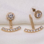 Back and front Gold Plated Cubic Zirconia Earrings