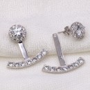 Back and front Rhodium Plated Cubic Zirconia Earrings