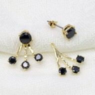 Gold Plated with Black Cubic Zirconia Back and Front Earrings