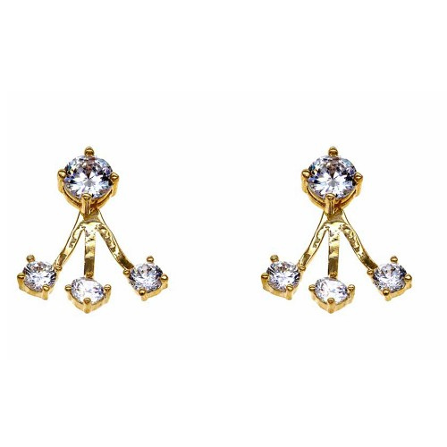 Gold Plated with Cubic Zirconia Back and Front Earrings