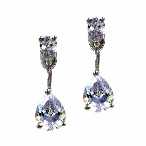 Rhodium Plated with Cubic Zirconia Back and Front Earrings