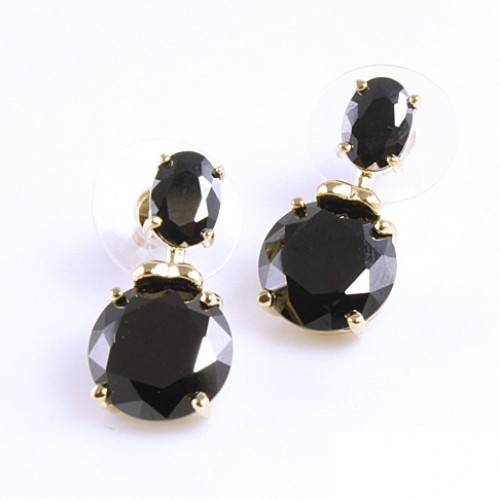 Gold Plated with Black Cubic Zirconia Earrings