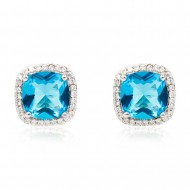 Rhodium Plated with Aqua Blue Square Cubic Zirconia Stub Earrings