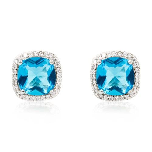 Rhodium Plated with Aqua Blue Square Cubic Zirconia Stub Earrings