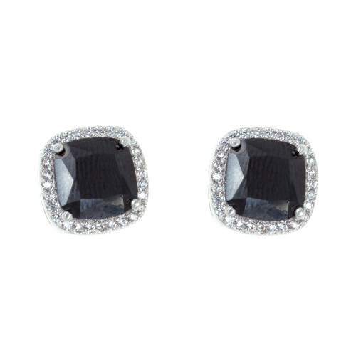 Rhodium Plated with Black Square Cubic Zirconia Stub Earrings