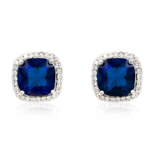Rhodium Plated with Blue Square Cubic Zirconia Stub Earrings