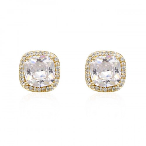 Gold Plated With Square Cubic Zirconia Stub Earrings