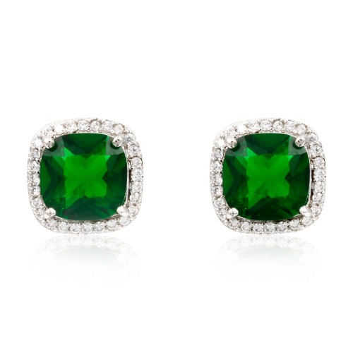 Rhodium Plated with Green Square Cubic Zirconia Stub Earrings