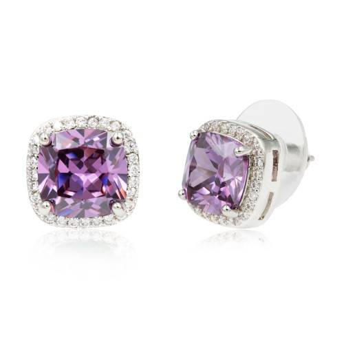 Rhodium Plated with Purple Square Cubic Zirconia Stub Earrings
