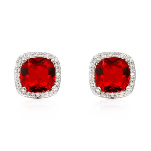 Rhodium Plated with Red Square Cubic Zirconia Stub Earrings