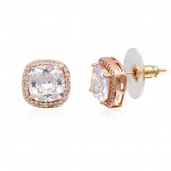 Rose Gold Plated with Clear Square Cubic Zirconia Stub Earrings