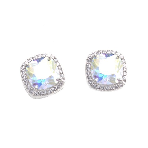 Rhodium Plated with AB Square Cubic Zirconia Stub Earrings