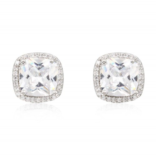 Rhodium Plated with Clear Square Cubic Zirconia Stub Earrings