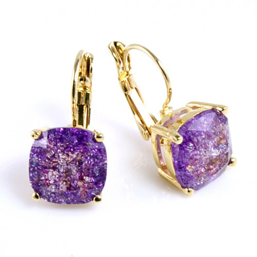 Gold Plated with Purple Cubic Zirconia Earrings