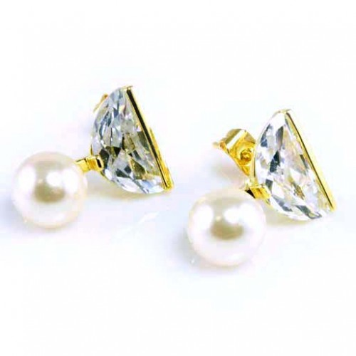 Gold Plated with Pearl and Cubic Zirconia Earrings