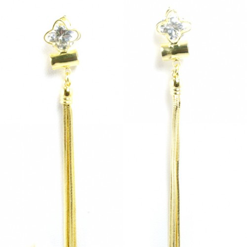 Gold Plated with Cubic Zirconia with Tassal Earrings