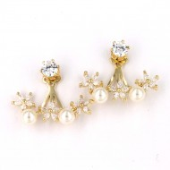 Gold Plated with Cubic Zirconia with 2-Pearls Earrings
