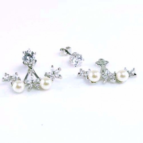 Rhodium Plated Cubic Zirconia with 2-Pearls Earrings