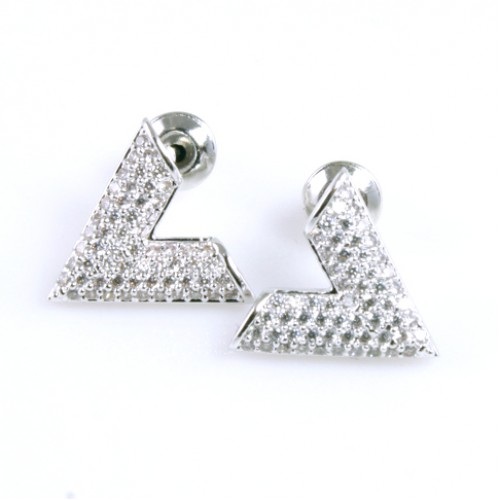 Rhodium Plated with Letter V Cubic Zirconia Earrings