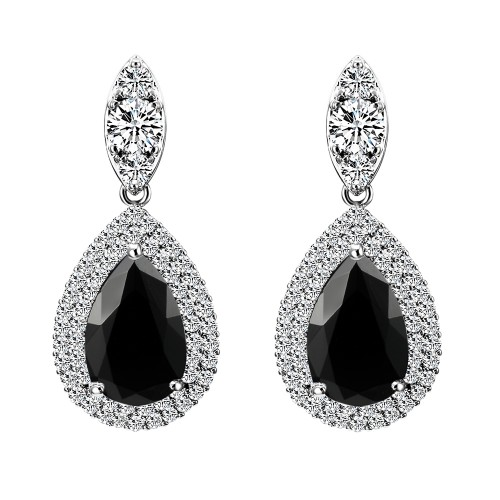 Rhodium Plated With Black Teal Dangle and Drop Cubic Zirconia Earrings