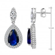 Rhodium Plated With Sapphire Blue and Clear Teal Drop Cubic Zirconia Earrings