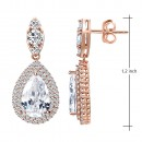 Rose Gold Plated With Clear Teal Drop Cubic Zirconia Earrings