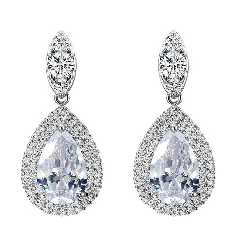Rhodium Plated With Clear Teal Drop CZ Earrings