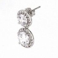 Rhodium Plated with Clear Cubic Zirconia Stub Earrings