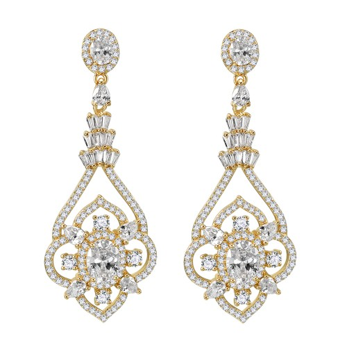 Gold Plated With Cubic Zirconia Dangle Bridal Earrings