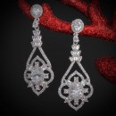 Rhodium Plated With Cubic Zirconia Dangle Bridal Earrings
