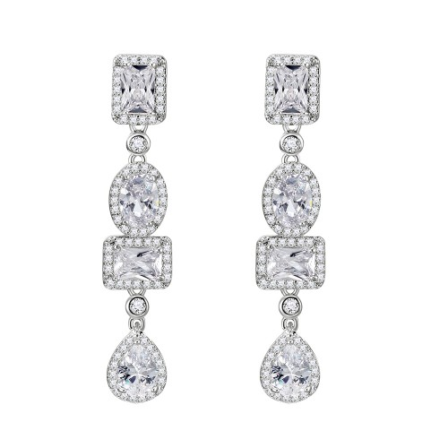 Rhodium Plated with Cubic Zirconia Bridal Earrings