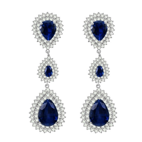Rhodium Plated with Sapphire Blue Cubic Zirconia Dangle and Drop Earrings
