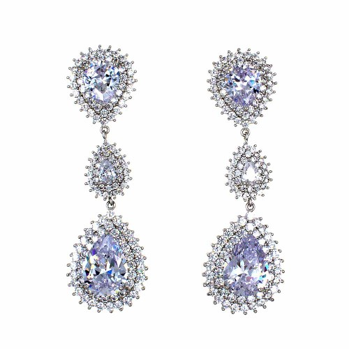 Rhoidum Plated With Cubic Zirconia Dangle and Drop Earrings