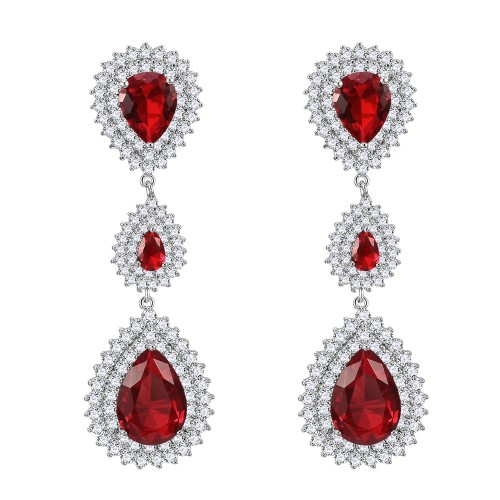 Rhodium Plated with Red Cubic Zirconia Dangle and Drop Earrings