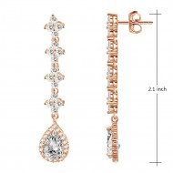 Rose Gold Plated with Clear Cubic Zirconia Bridal Earrings