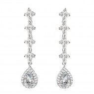 Rhodium Plated With Clear Cubic Zirconia Bridal Earrings